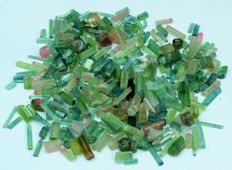 Beautiful Indicolite Blue , Green, Pink and Bi-Colored Tourmaline Crystals Lot - 71 gr - 350ct