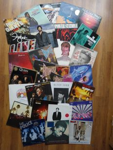 Lot of a Beautyful Collection from 26 LP's, 1 Maxi Single and 3 Singles with Different Artists like 5 LP's David Bowie, Queen, Neil Daimond, Euson, Elton john, and Many Several Other Artists. See List