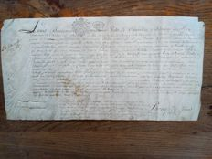Manuscript document Louis Bontemps II, first regular servant of the King Louis XIV, 'le roi soleil'