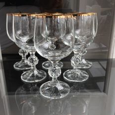 6 very fine crystal glasses decorated with 24 k gold