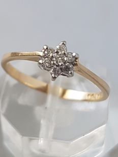 14 kt yellow gold ring with diamond – size 17.75 mm