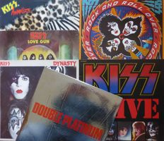 Lot of 6 KISS albums, including 2 doubles (8 lp's); Dynasty, Animalize, Rock and Roll Over,  Love Gun, Double Platinum and KISS Alive II