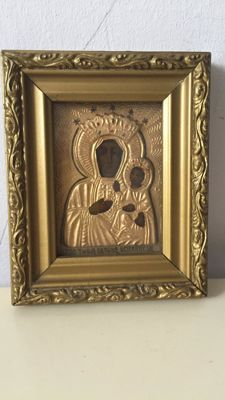 Old icon of Mary and baby Jesus, handmade and ornate - 20th century