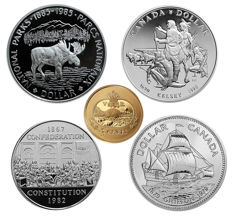 Canada - 1 Dollar 1979,1982,1985 and 1990 'Ship, Moose,Confederation & Kelsey' + 3 cents 2001 Gold Plated 'Beaver' - silver