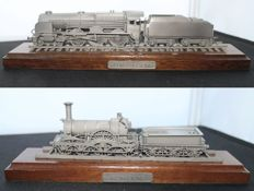 Franklin Mint - Iron Duke Locomotive  and Lord Nelson Locomotive - On Stand - Solid Pewter