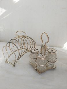 Antique condiment set made of 4 silver plated items with base and toast holder by L. & C. G. - EPNS - English - 1922