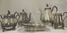 Antique Victorian silver plated 4 pieces coffee/tea set + basket ca, 1880