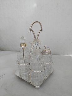 Antique silver plated four-piece condiment set with ENPS base, England, 1900s