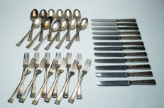 Art Deco cutlery Neoveda silver-plated 90, for 12 people, 36 pieces, heavy - large version