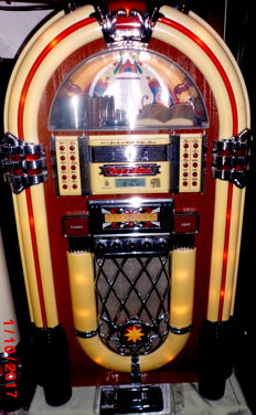 XXL jukebox/music box, retro Elta 2752 with radio, tape deck, and 7-slot CD changer + remote control