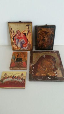 Lot: 5 Icons on wood