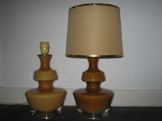 Unknown designer - 2x amber coloured glass table lamp