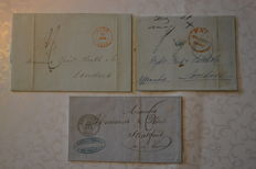 Belgium 1848/1854 - Forerunners sent from Belgium to London with various intermediate cancellations.