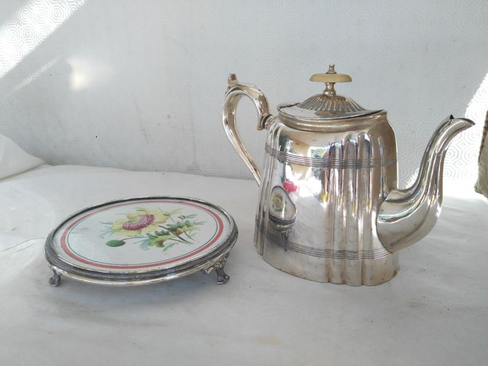 Old silver plated teapot with handle and ceramic tray with silver plated finishing - The pinnacle & Old silver plated teapot with handle and ceramic tray with silver ...