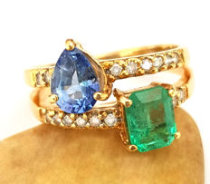 18 kt – 'You & Me' Love Ring with Emerald, Sapphire and Diamonds – 2.49 ct  **NO Reserve PRICE**