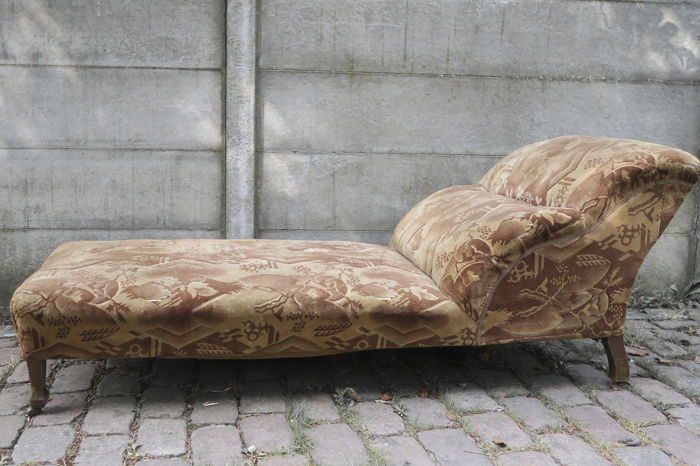 Art deco chaise longue with the original upholstery catawiki for Art nouveau chaise longue