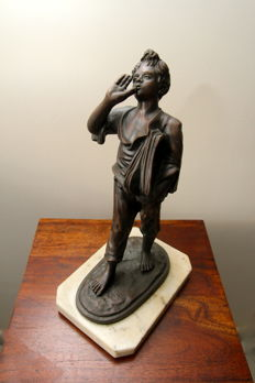 'The student' - bronzed copper sculpture with marble base - Italy - 1920s