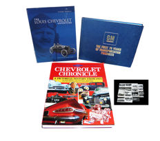 """Chevrolet Cronicle a pictorial history from 1904"" - ""The Louis Chevrolet Adventure"" - ""GM, the first 75 years""  PLUS 16 fine PR-photograps"