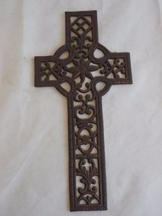 Antique and large-sized bronzed metal cross, Italy, 20th century