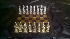 Greek chess set in bronze and copper