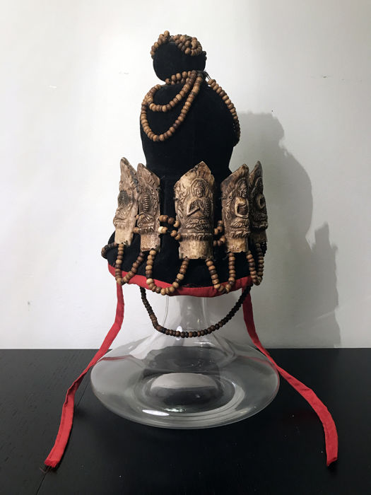 "Rare Tibetan lama crown (""DBU RGYAN"") - Tibet - 2nd half 20th century"