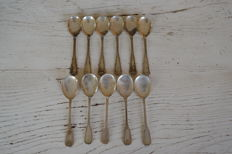 Lot of 11 silver 800 teaspoons - Italy - 20th century