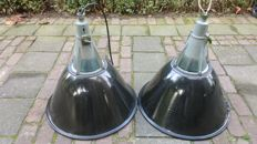 Unknown designer - 2 large black enamelled lamps with glass.