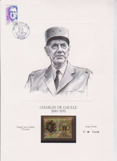 France 1970 - Homage to General de Gaulle Vignette struck on 23 and 24 kt gold leaf - Issue of 5,000 copies at Expo Lille 24/02/90