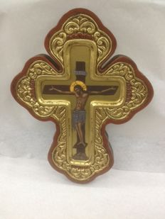 Wooden Painted Leaf Gold Byzantine Cross Icon, Jesus Christ-20th Century