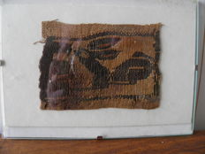 Fragment of garment, embroidered Coptic fabric,70 x 50 mm