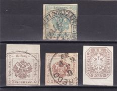 Austria 1850/83 - Ordinary and newspaper stamps - a little selection plus 1 cover