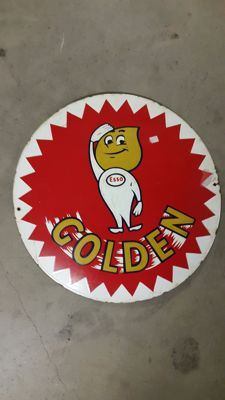 """Esso Golden"" enamelled porcelain sign - 1970s/80s"