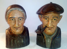 Pair of old wooden book holders from the Basque country