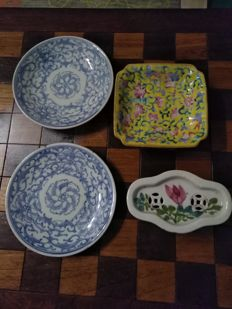 Porcelain tin, high rest bowl, two Kia Ching platters - China - 19th and beginning of 20th century.