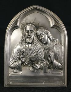 """Scene from """"the last supper"""" - bas-relief of solid tin - Jesus and John"""