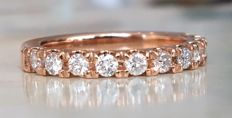 18 kt Rose gold women's ring with brilliant cut diamonds, G/VS, approx. 0.55 ct in total - size 17.25 mm