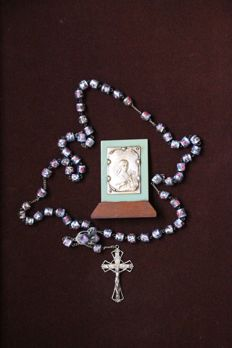 A very distinct Rosary with silver cross and travel icon Italy 20th century