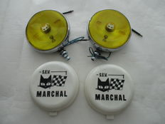 2 x fog light S.E.V. Marchal - a set of fog lights complete with protective covers - 1970s