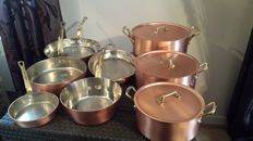 """Rare superb Cookware of 8 pieces in tinned copper handles in solid brass stamped   """" Licorne 3 couronnes """""""