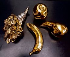 Silver & gold plated, horn of plenty and gilded fruit