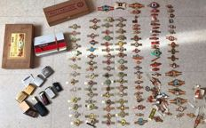 Beautiful empty cigar boxes, more than 100 cigar rings, old collectible lighters