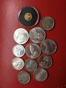 World - Lot of 12 coins (including gold and silver ones)
