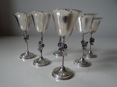 6 silver goblets on twisted hilt, 20th century