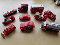 Del Prado - Scale 1/55 - Kavel met 12 various Fire Department vehicles