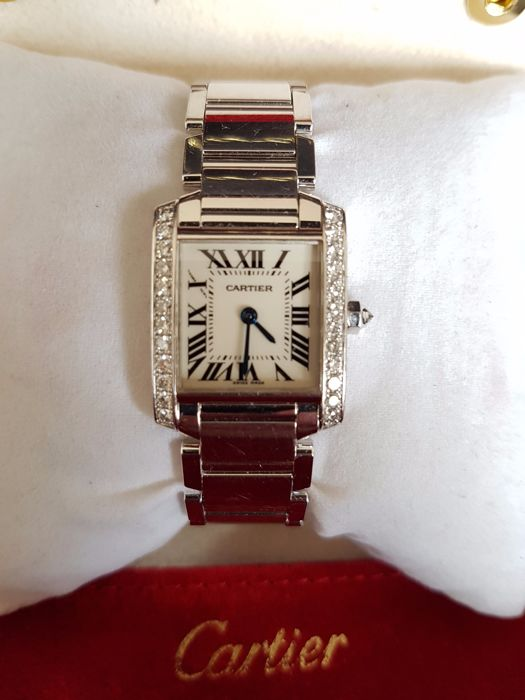 cartier tank francaise 18kt white gold 24 brilliants 2403 femme 2000 2010 catawiki. Black Bedroom Furniture Sets. Home Design Ideas
