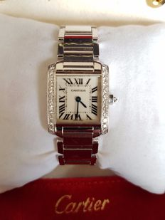 Cartier - Tank Francaise - 18 kt white gold - 24 brilliants - 2403 - ladies - 2000-2010