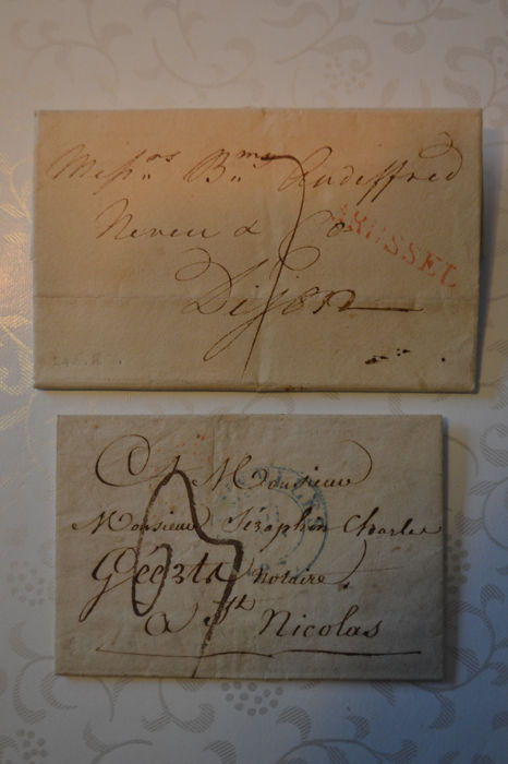 Belgium 1817/1837 - Forerunners sent from Brussels with 2 different Herlant cancellations