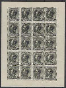 Belgium 1934 – King Leopold III – War veterans in sheets of 20  OBP F390 and F392