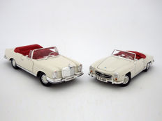 Maisto - Scale 1/18 - Lot with 2 models: 1955 Mercedes-Benz 190 SL and 1966 Mercedes-Benz 280 SE