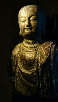 Large Bust of Buddha -Gesso, Wood and Gold Gilt on Wood Mount - China - later part 20th century